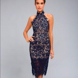 Lulu's divine destiny navy blue lace midi dress